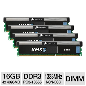 Corsair XMS3 16GB DDR3-1333MHz Desktop Memory Kit