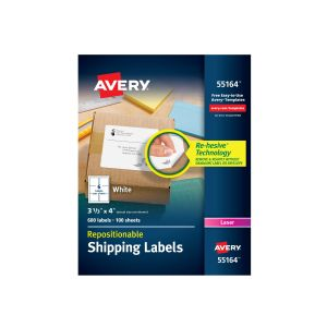 Avery Dennison Repositionable Shipping Labels 55164 - Repositionable a