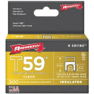 CLEAR T59 INSULATED STAPLES FOR RG59 QUA