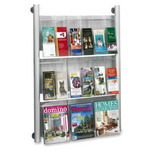 Luxe™ Magazine Rack - 9 Pocket - Silver