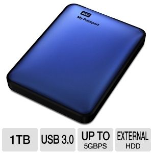 WD My Passport 1TB Blue Hard Drive - $89.97 after coupon