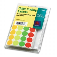 Print or Write Removable Color-Coding Labels, 3/4in dia, Asstd Neon, 1008/Pack - More Info