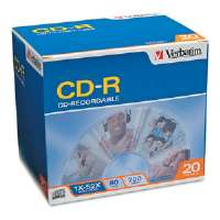 CD-R Discs, 700MB/80min, 52x, w/Slim Jewel Cases, Silver, 20/Pack for sale Now