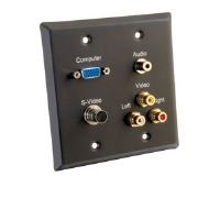 Cables To Go Black  Double Gang Wall Plate - More Info