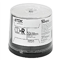 CD-R BULK 80 MIN 52X WHITE INKJET HUB SPINDLE - More Info