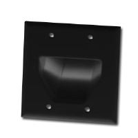 DATACOMM 45-0002-BK 2-Gang Recessed Plate - Black for sale Now