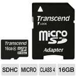 Transcend TS16GUSDHC4 microSDHC Flash Card - 16GB, Class 4, Adapter for sale Now