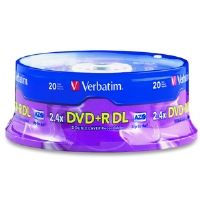 Verbatim 95310 20 Pack 2.4X DVD+R DL Spindle - More Info