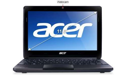 "Acer Aspire AO722-0828 Refurbished Notebook PC - AMD Fusion C-60 1.0GHz, 4GB DDR3, 500GB HDD, 11.6"" Display, ATI Radeon HD 6290 Graphics, No DVD-ROM, Windows 7 Home Premium 64-bit"