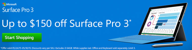 Microsift Surface Pro 3 - Get up to$150 off