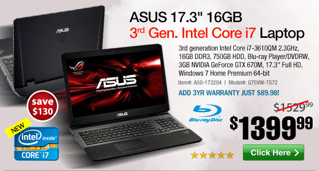ASUS 17.3-inch Core i7 GTX670M 16GB Core i7 Laptop