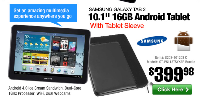 Samsung Galaxy Tab 2 10.1-inch 16GB Android Tablet and Belkin F8N200-BLK Tablet Sleeve Bundle