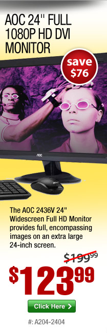 AOC 2436V 24-inch Full 1080P HD DVI Monitor