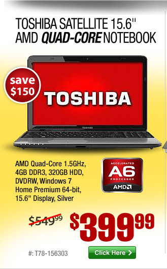 Toshiba Satellite 15.6-inch AMD Quad-Core Laptop