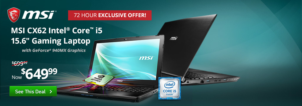 "Exclusive Offer! MSI i5 Gaming Laptop $649 | 24"" HP Monitor $119"