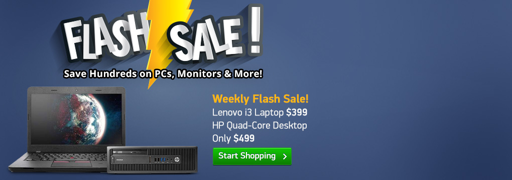 Weekly Flash Sale! Lenovo i3 Laptop $399 | HP Quad-Core Desktop Only $499