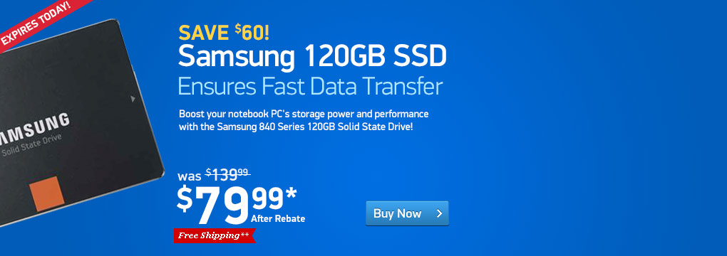 Samsung 840 Series MZ-7TD120BW 120GB Solid State Drive - 2.5-inch Form Factor, SATA III, 530 MB/s Read Speed, 130 MB/s Write Speed