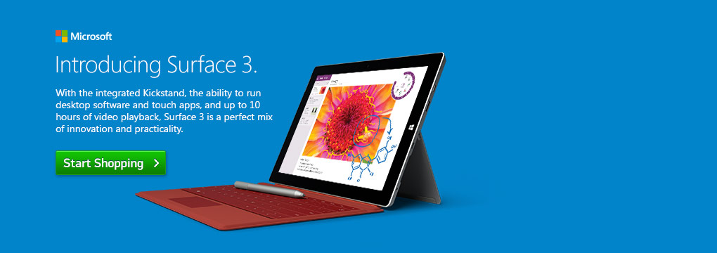 Introducing Surface 3. With the intergrated kickstand, the ability to run desktop software and touch apps, and up to 10 hours of video playback, Surface3 is a perfect mix of innovation and practicality.