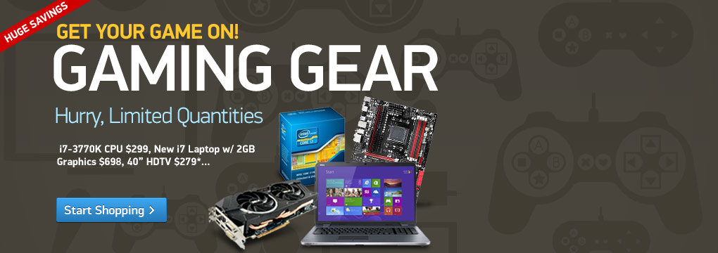 Gaming Gear: i7-3770K CPU $299, New i7 Laptop w/ 2GB Graphics $698, 40? TV $279