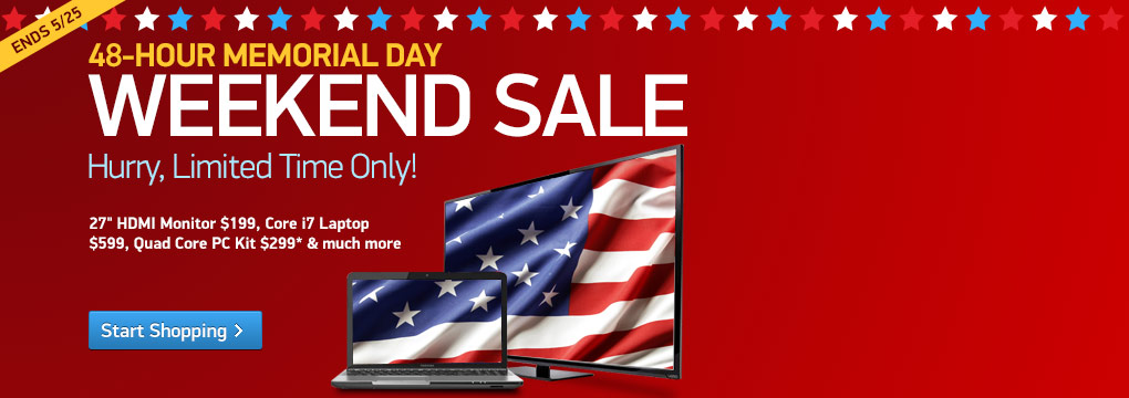 "Memorial Weekend: 27"" HDMI Monitor $199, Core i7 Laptop $599 and more"