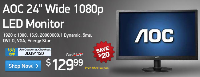 "AOC 24"" Class Widescreen LED Monitor - 1920 x 1080, 16:9, 20000000:1 Dynamic, 5ms, DVI-D, VGA, Energy Star (e2460sd)"