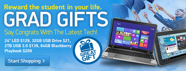 "Grad Gifts: 24"" LED $129, 32GB USB Drive $21, 2TB USB 3.0 $139, 64GB Blackberry Playbook $209"