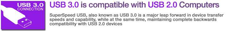 USB 3.0 is compatible with USB 2.0 Computers