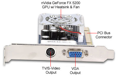 XFX GeForce FX 5200 128MB PCI with TV-Out Video Card