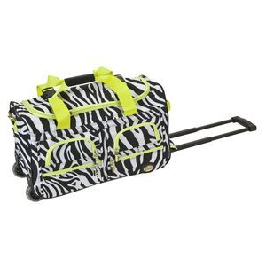 "ROCKLAND 22"" ROLLING DUFFLE BAG LIME ZEBRA"