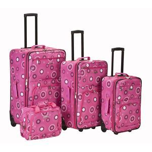 ROCKLAND 4 PC PINK PEARL LUGGAGE SET