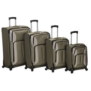 ROCKLAND 4PC IMPACT SPINNER LUGGAGE SET OLIVE