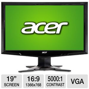 "Acer 19"" Wide 1366x768 LCD Monitor, VGA"