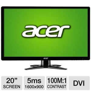 "Acer 20"" Wide 1600x900 LED Monitor, VGA, DVI"