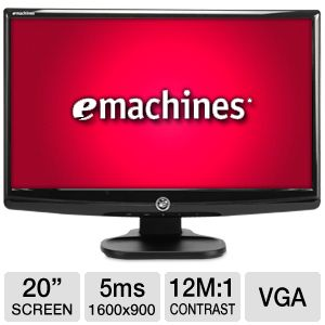"eMachines 20"" Wide 1600x900 LED Monitor, VGA"