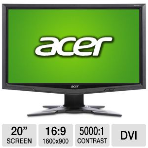 Acer 20&quot; Wide 1600x900 LCD Monitor, VGA, DVI