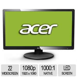 "Acer 22"" Wide 1080p LED Monitor, VGA"