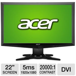 Acer 22&quot; Wide 1080p LCD Monitor, VGA, DVI