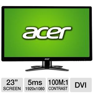 "Acer 23"" Wide 1080p LED Monitor, VGA, DVI"