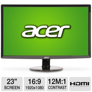 "Acer 23"" Wide 1080p LED Monitor, VGA, DVI, HDMI"