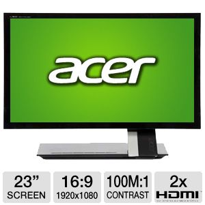 "Acer 23"" LED 1080p Monitor, Clutter-Free Design"