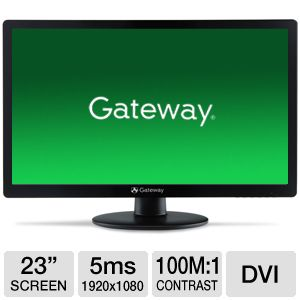 "Gateway 23"" Wide 1080p LED Monitor, VGA, DVI"