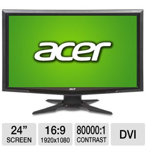 Acer 24&quot; Wide 1080p LCD Monitor, VGA, DVI