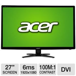 "Acer 27"" Wide 1080p LED Monitor. VGA, DVI"