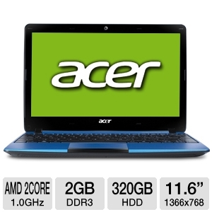 "Acer Aspire Dual-Core 11.6"" Blue Netbook REFURB"