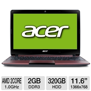 "Acer Aspire Dual-Core 11.6"" Red Netbook REFURB"