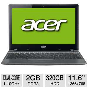 "Acer C710 11.6"" Celeron 320GB HDD Chromebook"