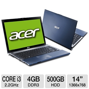 "Acer Aspire AS4830T-6402 14"" Blue Notebook REFURB"