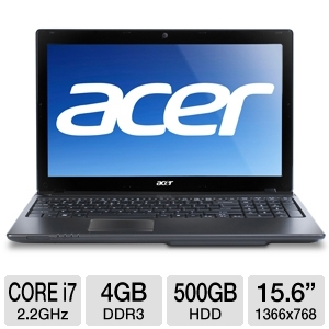 "Acer Aspire Core i7, 4GB, 15.6"" Black Notebook"