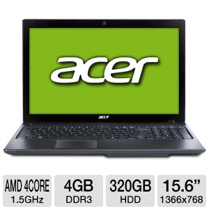 "Acer Aspire AS5560G-7809 Quad Core A6-3420M 1.5GHz CPU 4GB DDR3 320GB HDD 15.6"" Laptop $399.97"