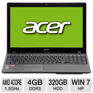 "Acer Aspire 15.6"" AMD Quad-Core 320GB Notebook"